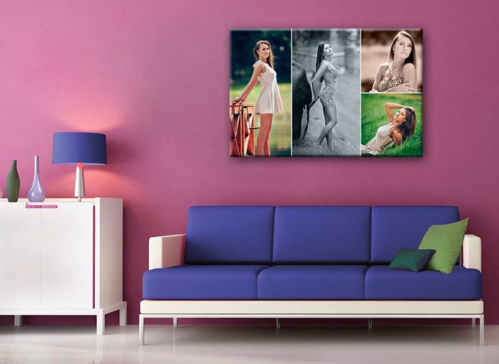 Фото картина в гостиную на стену, фотокартина из своих фотографий, модульный фотоколлаж из своих фото, подарок на юбилей коллаж из лучших фото, фотоколлаж на холсте Киев