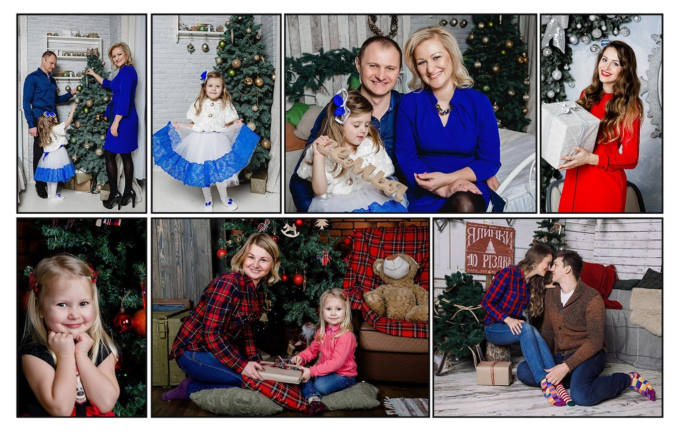 Семейная новогодняя фотосессия, фотосессия в студии, коллаж из новогодних фотографий, коллаж Киев